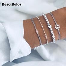 купить 4 Pcs/set Women's Exquisite Gem Beads Heart Round Geometry Tassel Bracelet Set Bohemian Vintage Jewelry Accessories Gifts по цене 129.35 рублей