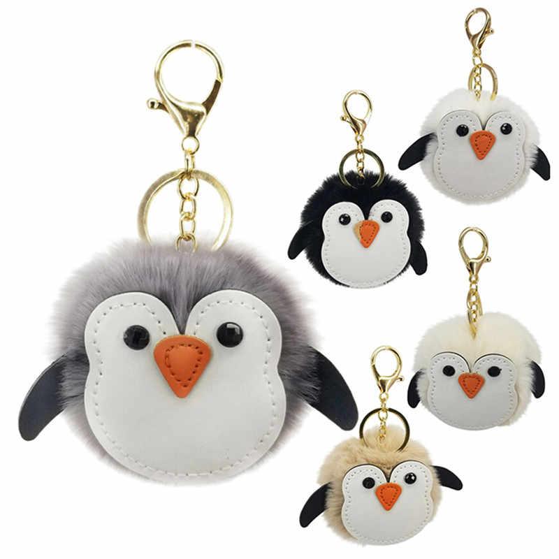 Urso Pinguim Hipocampo Keychain Da Corrente Chave Bonito Pompom Fofo Falso Bola de Pêlo de Coelho Mulheres Saco Pompom Acessórios Anel Chave Do Carro