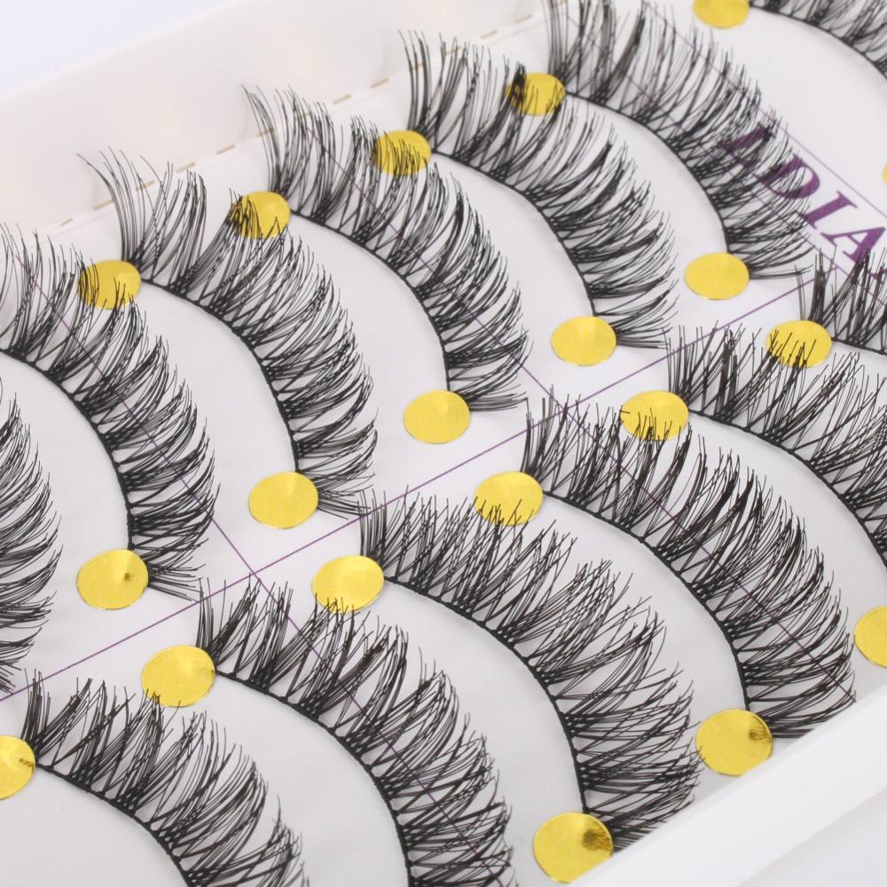 10 Pairs New Long Thick Cross False Eyelashes Natural Makeup Fake Black Eye Lashes