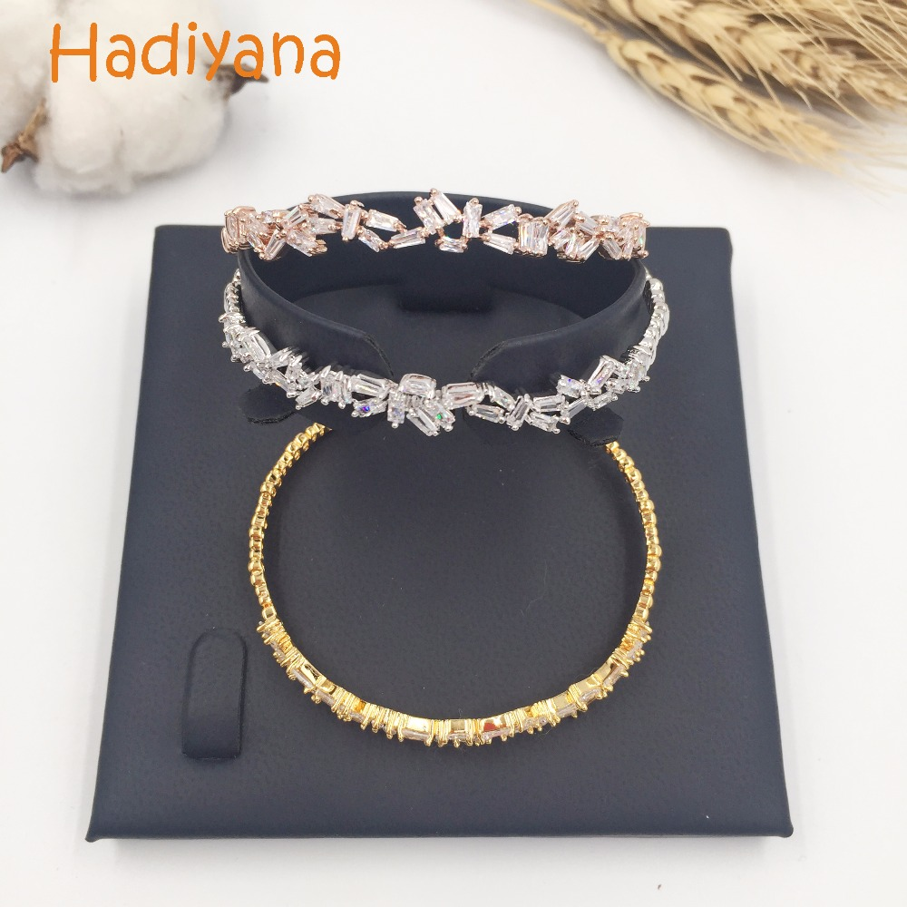 Hadiyana new T Cubic zirconia cooper beautiful engagement bangle gift for women classic love wedding bracelet SZ039-B