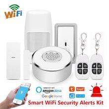 Tuya 스마트 홈 와이파이 보안 경보 키트 게이트웨이 허브 도어 윈도우 센서 pir 감지기 자동화 홈 보안 시스템 alexa google