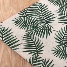 Concise Green Leaf Printing Cotton Linen Fabric Wear-Resistant Patchwork Textile Canvas Flax Cloth For DIY Quilting