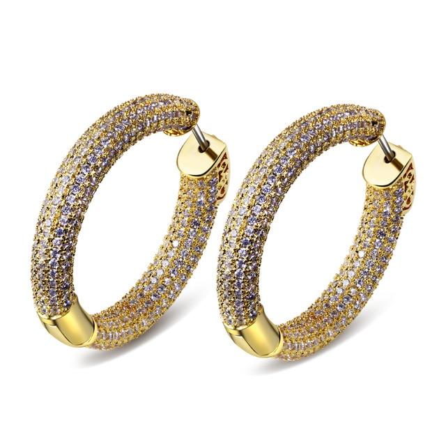 Big Classic Hoops Luxury Wedding Jewelry Gold Rhodium plated Cubic Zircon Party Big Huggie gold Statement Fashion Hoop earrings
