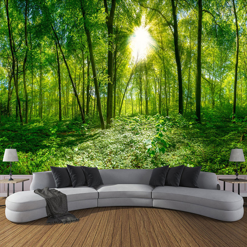 Custom Wall Sticker Living Room Waterproof Canvas Self Adhesive Mural Green Tree Forest 3D Photo Wallpaper For Bedroom Walls 3D