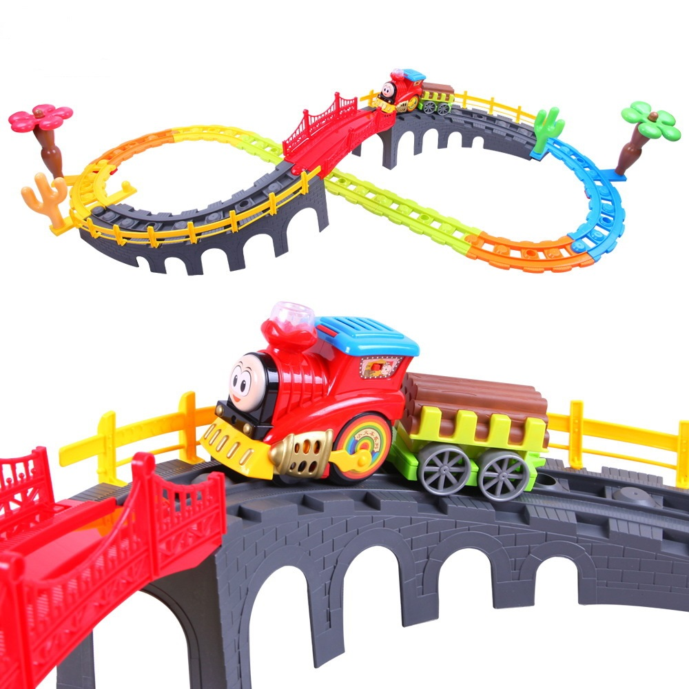 Children Electric Train Toys With Tracks DIY Track Educational Toy For Boy Spiral Track Toy Kids Railway Electric Orbit Car Toys