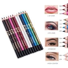 Fexport eyeliner pencil 6pcs/set wooden eye liner waterproof long lasting sexy red green white glitter pen MN106
