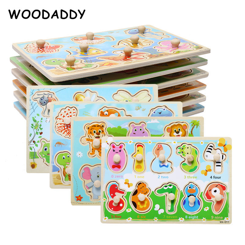 Dropshipping Baby Carton Animal 3D Puzzles Hand Grab Wooden Toys For Kids Mushroom Nail Early Learning Educational Children Gift