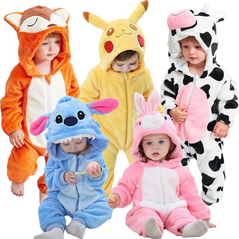 Baby Cartoon Romper Newborn Hooded Inflant Clothing Boy Girl Pajamas Animal Onesie Jumpsuit Pikachu Costume Flannel Baby Rompers