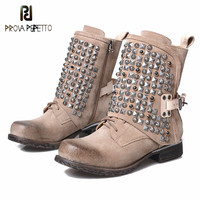 Prova Perfetto/2018 г. новые зимние женские полусапожки ковбойские ботинки с заклепками и боковой пряжкой женские ботинки в стиле панк на низком каб