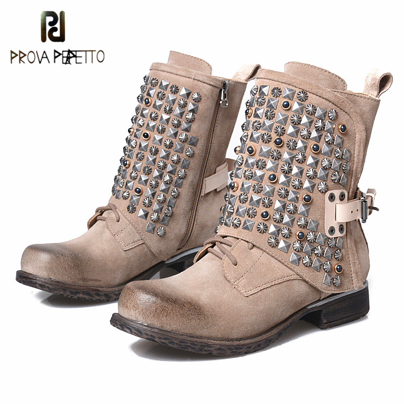 Prova Perfetto 2018 New Winter Women Short Boots Rivet Zipper-side Buckle Cowboy Boots Woman Punk Style Round Toe Low Heel Boots prova perfetto red color punk style genuine leather thick bottom woman mid boots solid round toe low heel rivet martin boots