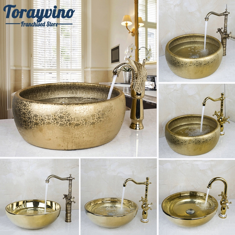 Round Gold Ceramic Basin Bowl Lavatory Vessel Sinks Container With Pop Drain
