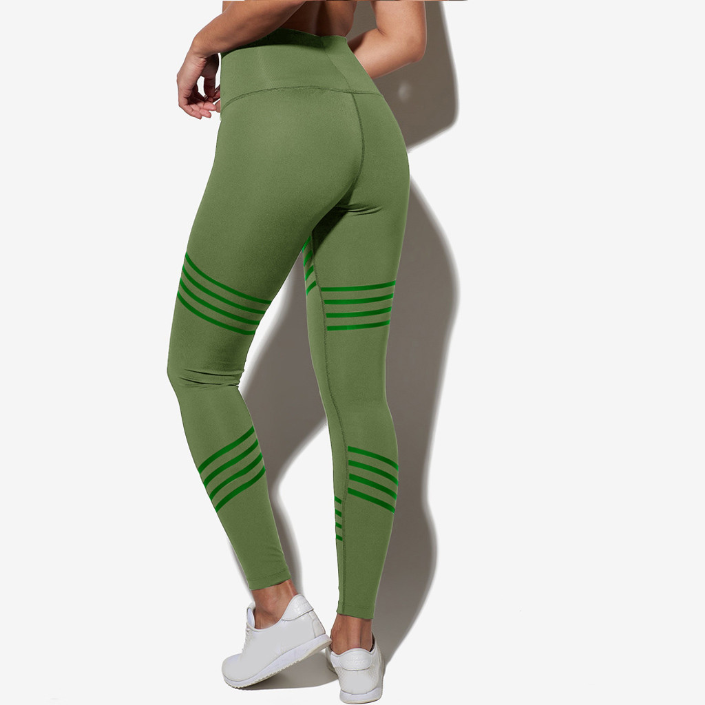 Women   Leggings   Spring High Waist Sporting Workout Fitness Solid Two Blocked Skinny Pencil Pants Sportswear Compression Leggins