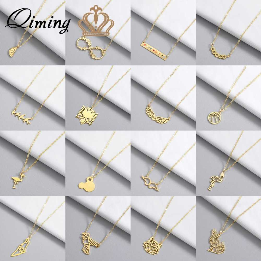Gold Women's Necklace Mickey Angle Wings Bird Geometric Charm Statement Jewelry Infinity Neckalce Girls Gift