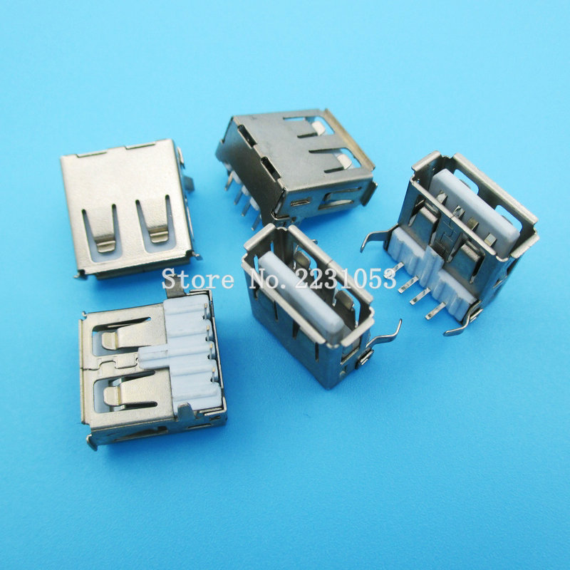 10PCS/LOT USB 2.0 4Pin A Type Female Socket Connector 2 Feet 90 Degree Data Transmission Charging Plug Adapter PCB SDA Cable