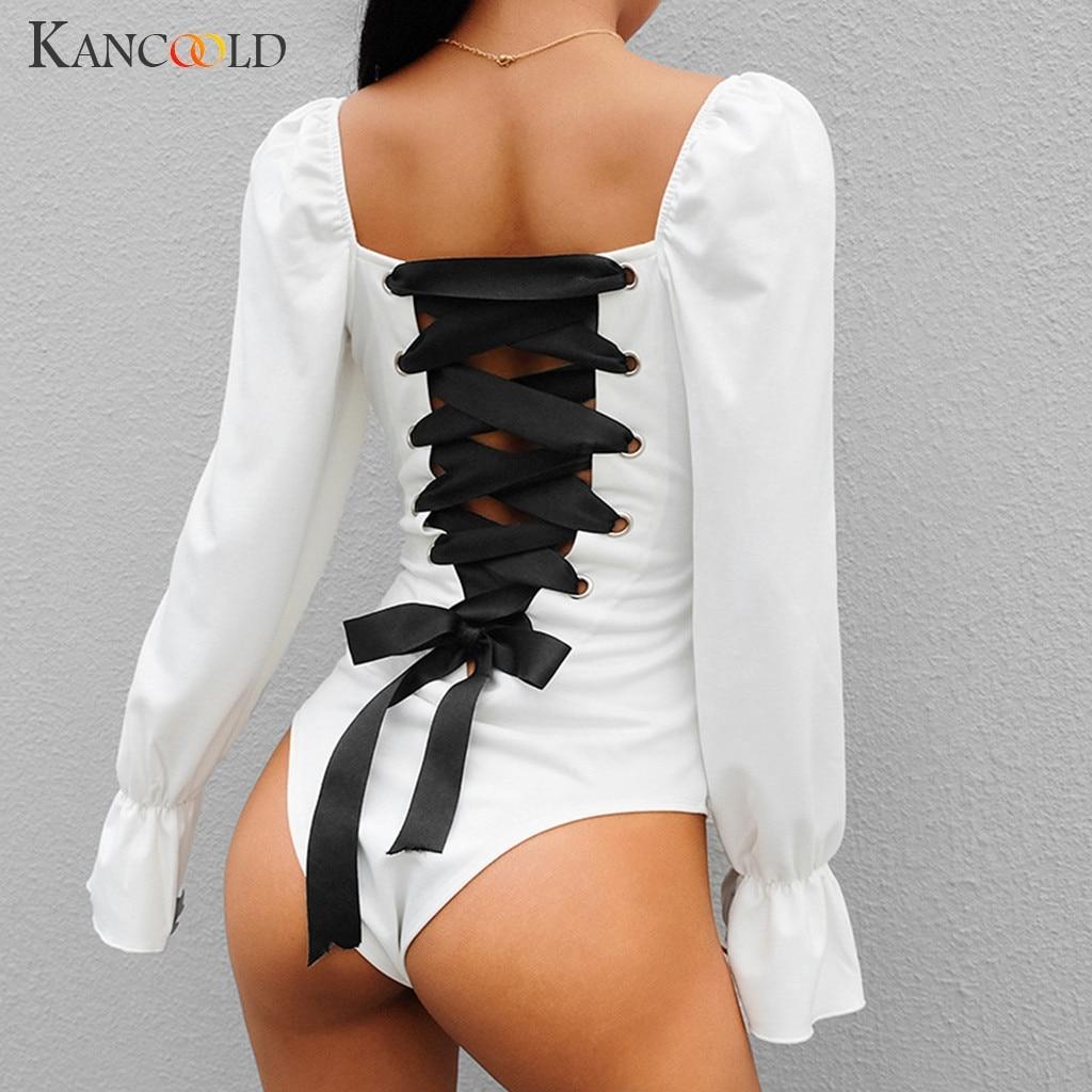 KANCOOLD   Jumpsuit   Fashion girl Women Long Sleeve Baddage Bodysuit Sexy Basic Solid party squard neck new   jumpsuit   sexy 2019JAN4