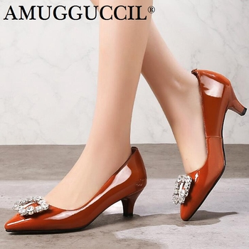 Plus Big Size 31-45 Real Leather Black Caramel color Fashion Sexy Mid Heel Girl Female Lady Women Shoes Pumps D1180