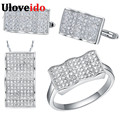 Uloveido Fashion Jewelry Set Silver Ring Earrings Necklace Wedding Jewelry Sets Square White Stone Gifts for the New Year T052
