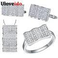Uloveido conjunto de joyería de moda anillo de plata pendientes collar joyería de la boda establece cuadrado blanco piedra regalos para el nuevo año t052
