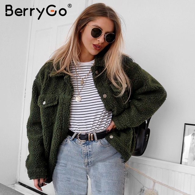 BerryGo Faux fur lambswool button jackets coats 2018 Trendy pink warm hairly winter suit Women autumn outerwear female overcoats
