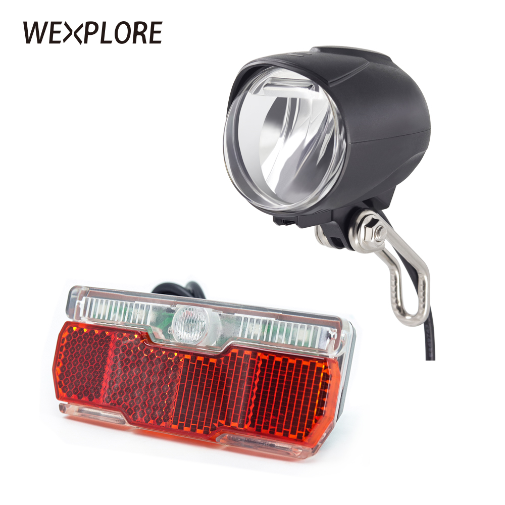 Ebike Light With Headlight And Taillight Set Suitable For Input 12V 24V 36V 48V Led Lamp Electric Bicycle Light Bafang E Bike