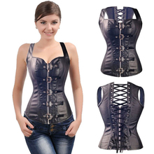 Sexy Black Faux Leather Buckle Overbust Waistcoat Corset