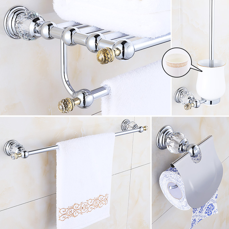 Crystal chrome bathroom accessories set brass bathroom - Modern bathroom accessories sets ...