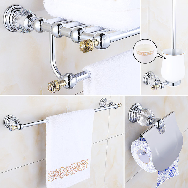Crystal Chrome Bathroom Accessories Set Br Hardware Modern Products Silver