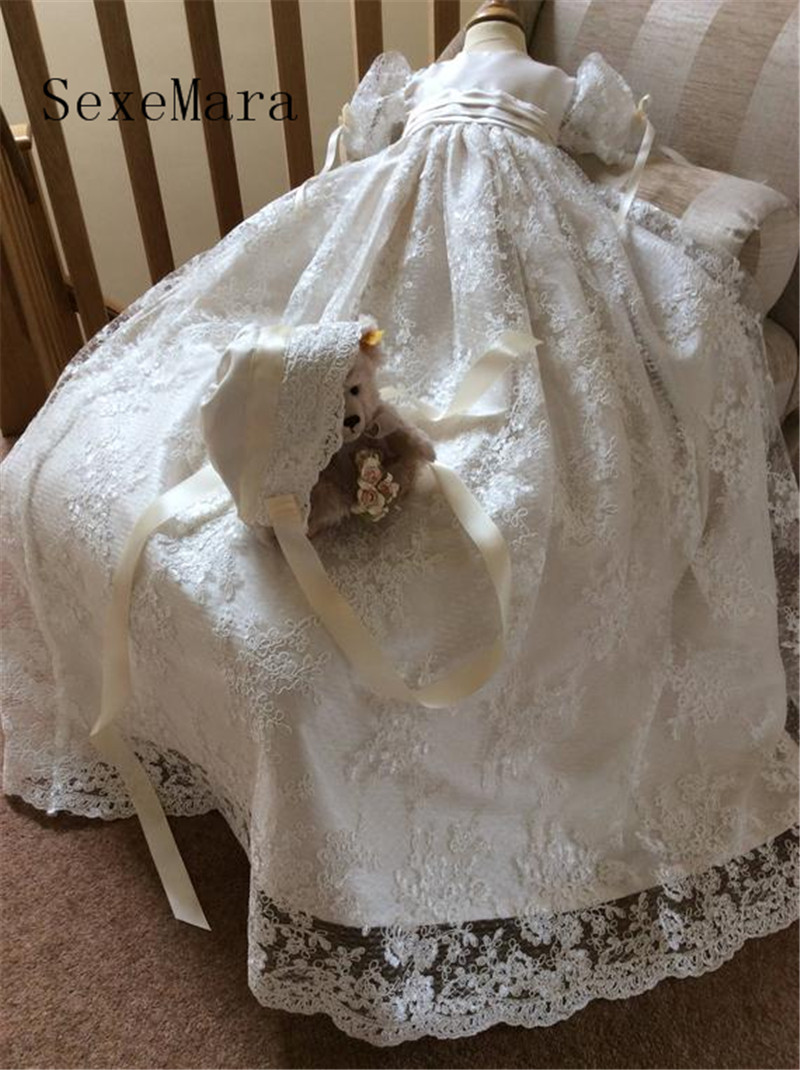 New Real Baby Girls Christening Gown Baptism Dress Infant Toddler Long Heirloom Gown set Ivory Christening Dress with Bonnet gorgeous white ivory baby girls heirloom christening gown with bonnet baby girls boys baptism robe dress