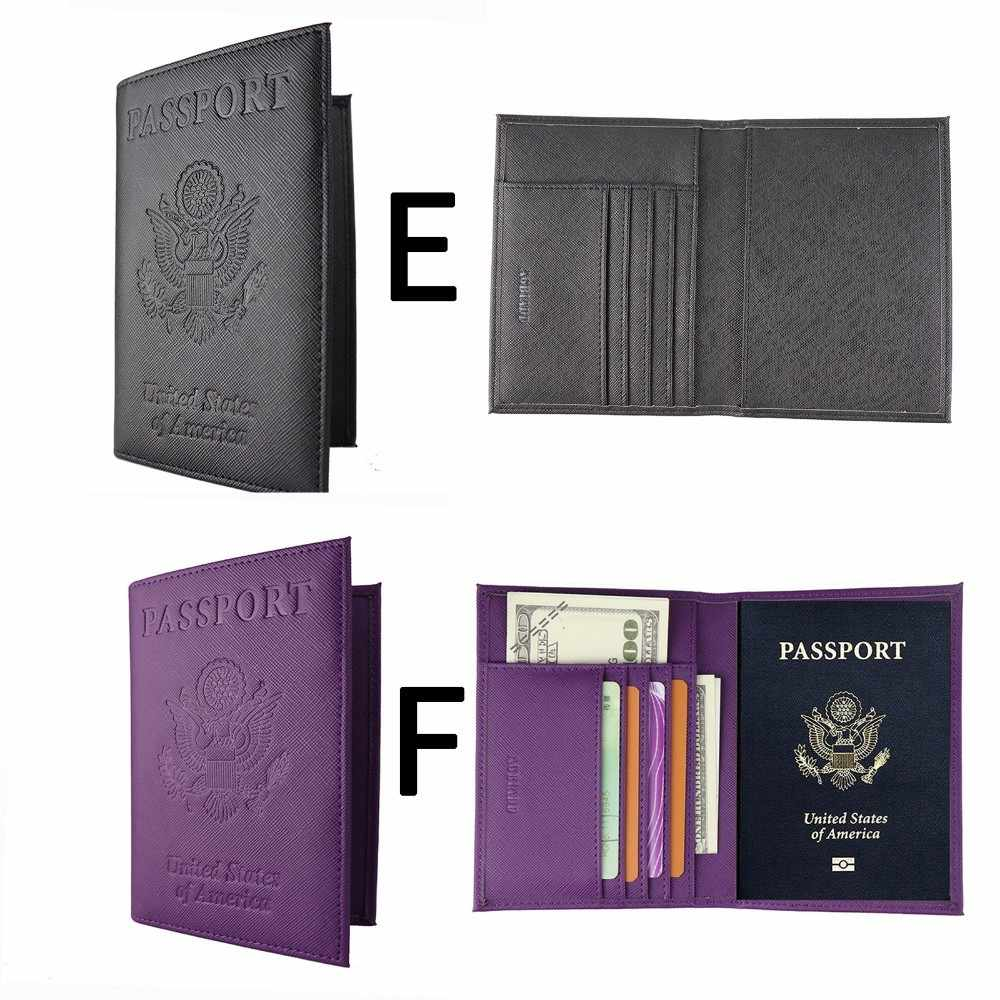 Femmes hommes voyage passeport titulaire couverture Pu cuir Id carte Ticket organisateur 612-60 solide passeport couverture pour voyage porte-documents