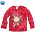 Retail baby girl camiseta nova desgaste de los niños 2016 algodón de manga larga lotila lunar floral de la muchacha camiseta de los niños embroma la ropa