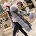 YOUMIGUE Real Rex Rabbit Fur Parkas Ejército Estadounidense con Gruesa piel de Zorro Collar Largo Militar Mujeres Escudo Wadded Encapuchada de la Chaqueta
