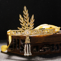 2016 New Bridal Tiara Wedding Great Gatsby Charleston 1920s Vintage Pearls Headpiece Headband Gold Pearl Crown