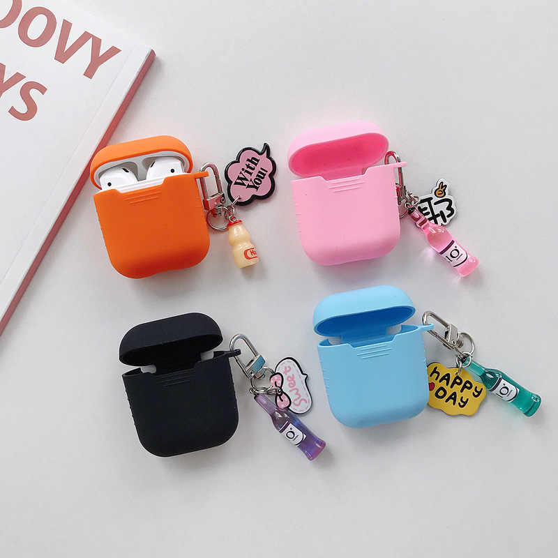 Silicone Case for Apple Airpods Wine bottle keychain bag jewelry pendant Air Pods Accessories Bluetooth Earphone Protective case