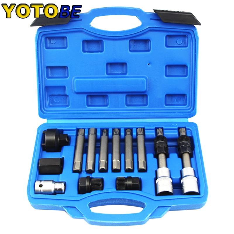 13 шт. генератор свободного колеса шкив для удаления двигателя набор инструментов профессиональный набор инструментов для авто