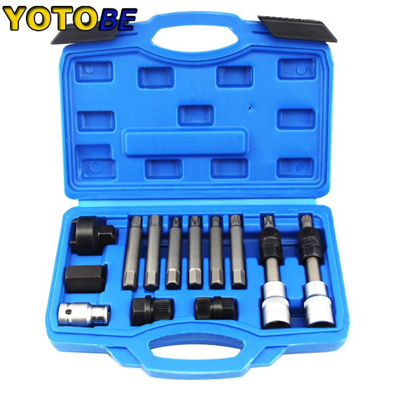 13pcs Alternator Freewheel Pulley Removal Engine Tool Set ,Professional Auto Tool Set