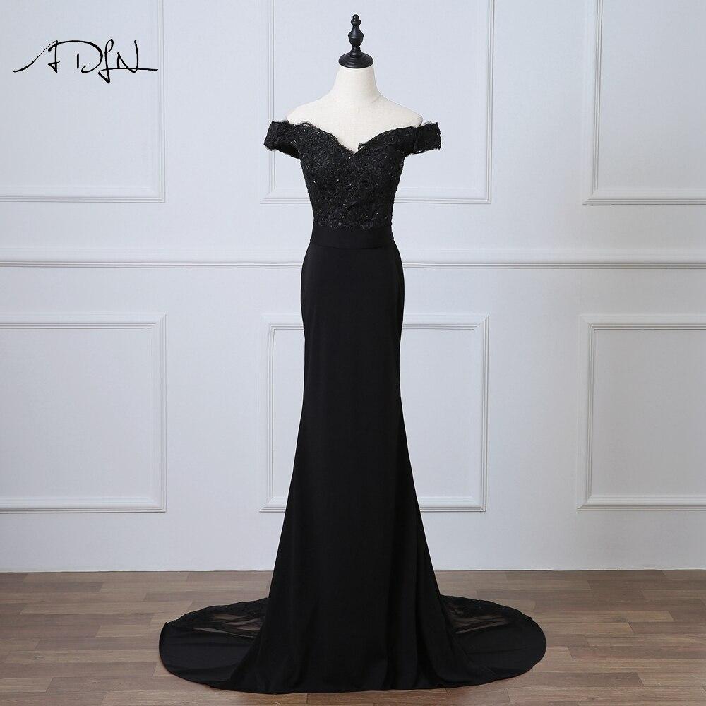 ADLN черная Русалка вечернее платье с открытыми плечами Abendkleider длинное вечернее платье с аппликацией
