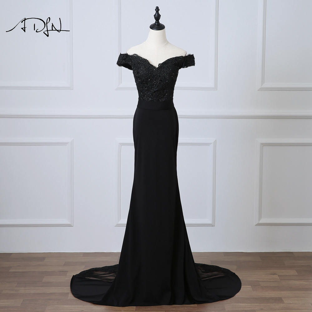 ADLN Black Mermaid   Evening     Dress   Off-the-shoulder Abendkleider Long Party Prom Gown with Appliques