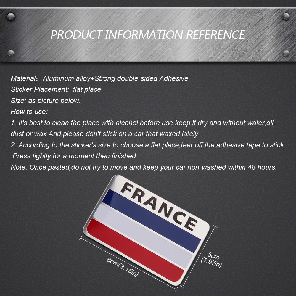 Fransa Bayrağı Metal Amblem çıkartmaları Sticker Rozet Araba Styling