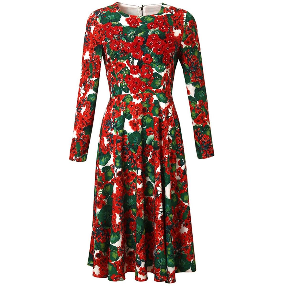Red RoosaRosee Designer Runway Women 3d Flower Applique Bead Dress Spring Autumn Long Sleeve Floral Print