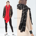 WJ65 200*85cm 2014 New Oversized Plaid Cape Shawl Winter Unisex Blanket Ponchos Tartan Scarf Red Black Free Shipping