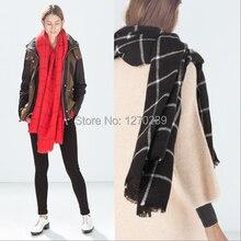 WJ65 200 85cm 2014 New Oversized Plaid Cape Shawl Winter Unisex Blanket Ponchos Tartan Scarf Red
