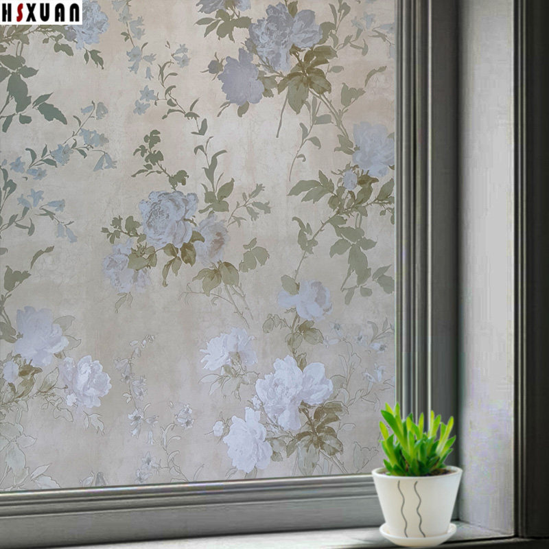 frosted decorative window privacy films 50x100cm flower printed removable tint glass static window stickers Hsxuan brand 502301