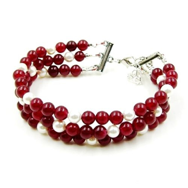 Vintage Classic Lab-created Natural Stone Jewelry Noble Rubies  Shell Pearl Beaded Three-layers Chain Strand Bracelet  20 cm