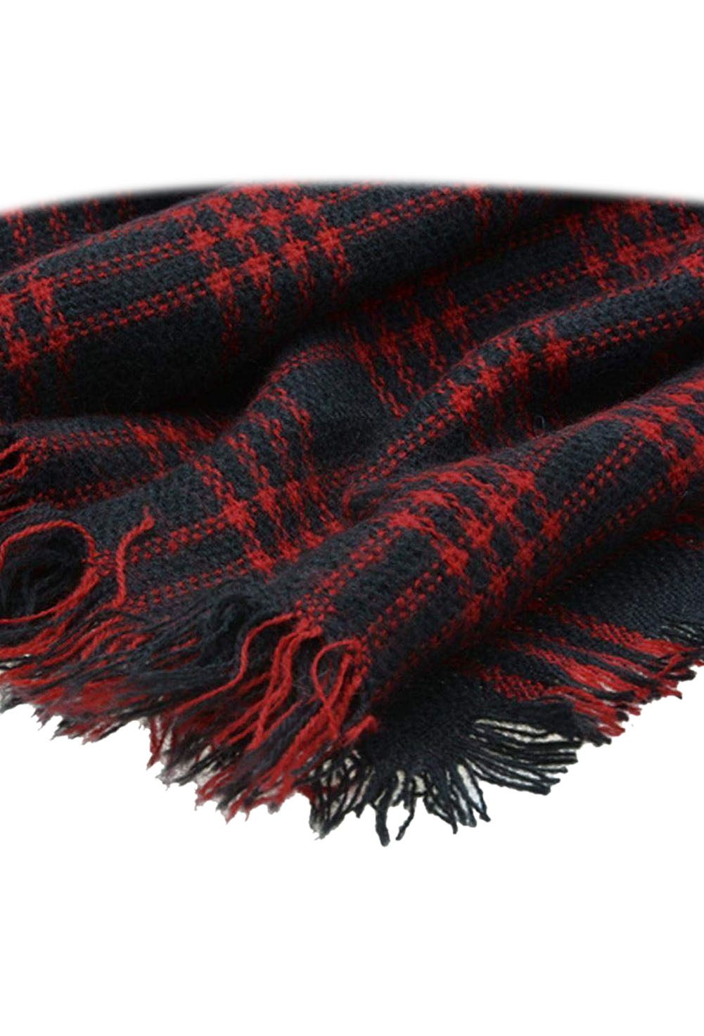 Hot Wool Blend Tartan Plaid Soft   Scarf     Wrap   Shawl Blanket Stole Pashmina Red+Black