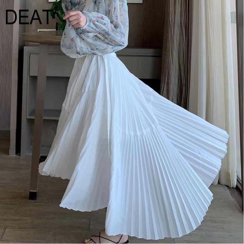 DEAT 2019 New Summer Fashion Women Clothes High Waist Pleated Vintage White Wide Bottom Asymmetrical Halfbody