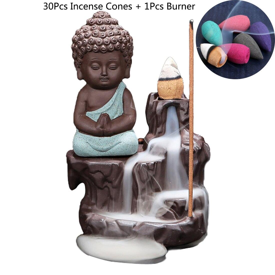 30 Pcs Encens Cônes + 1 Pcs Brûleur D'encens Encensoir En Céramique Petit Moine Petit Bouddha Encens Brûleur pour La Maison Bureau salon de thé Décor
