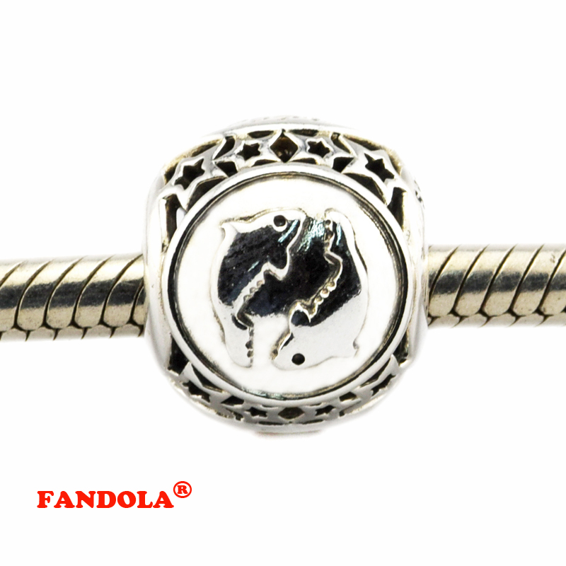 DIY Fits Pandora Bracelets Pisces Star Sign Beads 925 Sterling Silver Jewelry Charms for Women Free Shipping