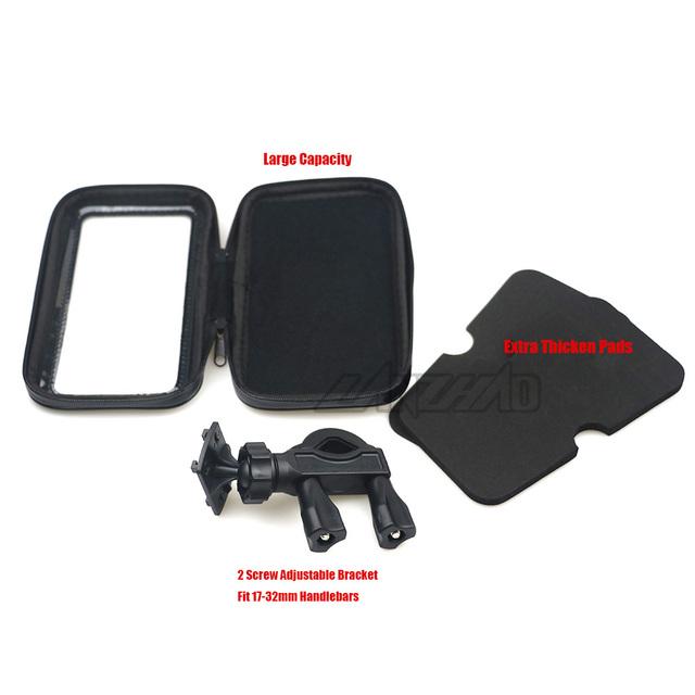 Motorcycle Handlebar Phone Holder Zipper Pocket Waterproof PU Leather Accessories Dual Screw for Harley Kawasaki Touring Cruiser