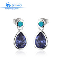 2016 Brand 925 Solid Sterling Silver Earring Blue Australian Genuine Fire Opal Oval Woman Stud Earrings