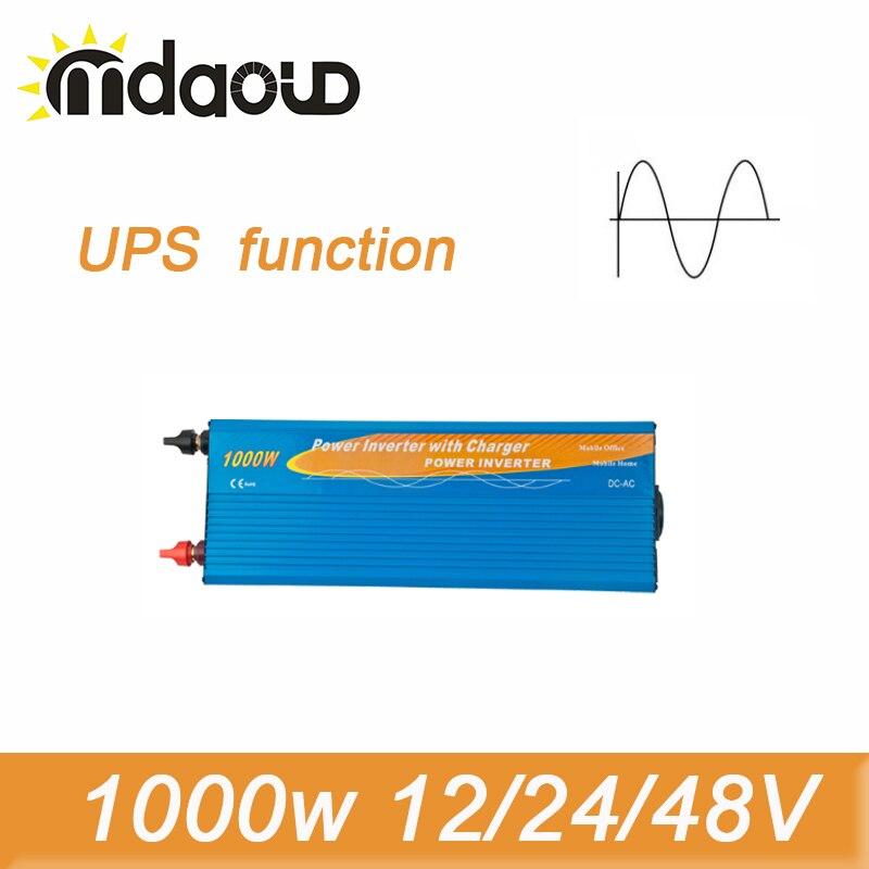2000W Peak Pure Sine Wave Inverter 1000W 12/24/48VDC To 100/110/120/220/230/240VAC Solar Power Inverter with UPS function